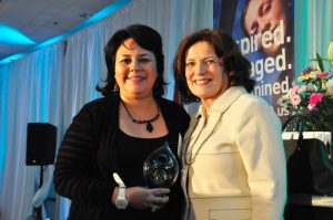 Paola Ardiles and Surrey Board of Trade speaker and SFU alumna Margaret Trudeau